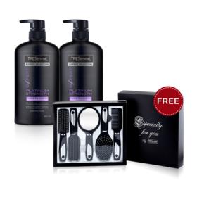 แพ็คคู่ Tresemme Platinum Strength Shampoo (480ml x 2pcs) (Free! Comb Set)