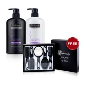 Tresemme Platinum Strength Shampoo 480ml & Conditioner 480ml (2pcs) (Free! Comb Set)