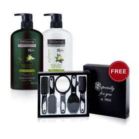 Tresemme Salon Detox Shampoo 450ml & Conditioner 450ml (2pcs) (Free! Comb Set)