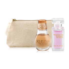 Yves Rocher Duo Mini Travel Perfume Set 3Items(Moment De Bonheur EDP 5ml + So Elixir Bois Sensuel EDP 5ml + 2018 Golden Pourch)