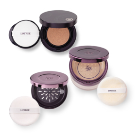 Lotree Set 3 Items (Rosa Davurica Loose Powder #23 + Powdery Cushion SPF50/PA++ #23 + Portable Powder Case)