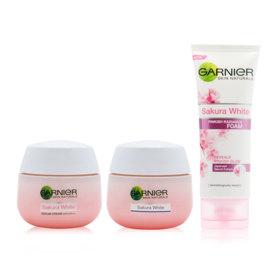 Garnier New Year Sakura Set 3 Items (Night Cream 50ml + Day Cream SPF21 50ml + White Foam 100ml)