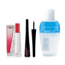 Maybelline New Year Party Make Up 2 Set 3 Items (Liquid Liner #Black + Bitten Lip #PK02 + Makeup Remover 70ml)