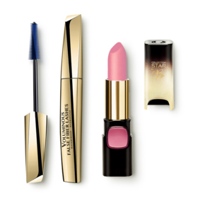LOreal Paris New Year Party Make Up 1 Set 2 Items (Color Riche Collection Star 24K Gold #N601 Nude Gold + Voluminous False Fiber