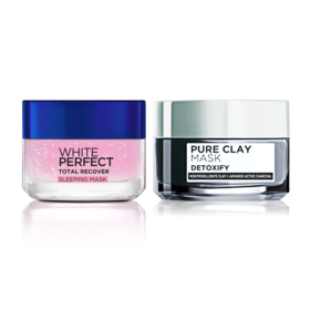 LOreal Paris New Year Set 2 Items (White Perfect Total Recover Sleeping Mask 50ml + Pure Clay Mask Detoxify 50ml)