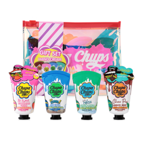 Chupa Chups Gift Set Hand Cream 5 Items ( #Strawberry Cream +  #Green Apple + #Choco Mint + #Ice Cola + Bag )