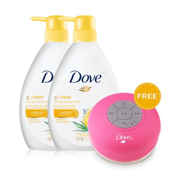 แพ็คคู่ Dove Go Fresh Energize Body Wash (550ml x 2pcs)(Free! Bluetooth Value 358bath)