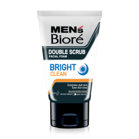 Biore Men's Double Scrub Facial Foam Bright Clean 100g