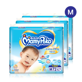 Mamy Poko Extra Dry Skin Tape 72pcs x 3packs (216pcs in box) #M