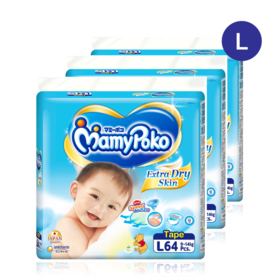 Mamy Poko Extra Dry Skin Tape 64pcs x 3packs (192pcs in box) #L