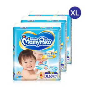 Mamy Poko Extra Dry Skin Tape 60pcs x 3packs (180pcs in box) #XL