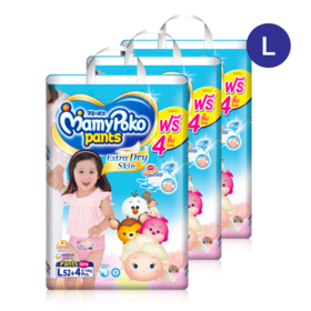 Mamy Poko Pants Extra Dry Skin Pants 52pcs x 3packs (156pcs in box)(Girl) #L