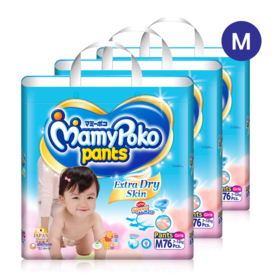 Mamy Poko Pants Extra Dry Skin Pants 76pcs x 3packs (228pcs in box)(Girl) #M