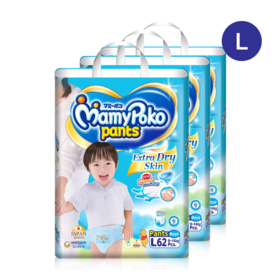 Mamy Poko Pants Extra Dry Skin Pants 62pcs x 3packs (186pcs in box)(Boy) #L