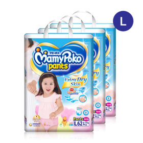 Mamy Poko Pants Extra Dry Skin Pants 62pcs x 3packs (186pcs in box)(Girl) #L