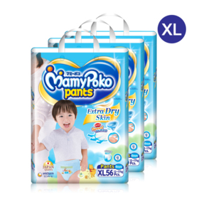 Mamy Poko Pants Extra Dry Skin Pants 56pcs x 3packs (168pcs in box)(Boy) #XL