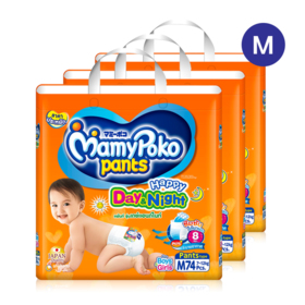 Mamy Poko Happy Pants Day & Night 74pcs x 3packs (222pcs in box) #M