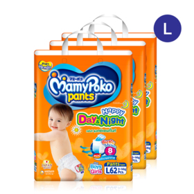 Mamy Poko Happy Pants Day & Night 62pcs x 3packs (186pcs in box) #L