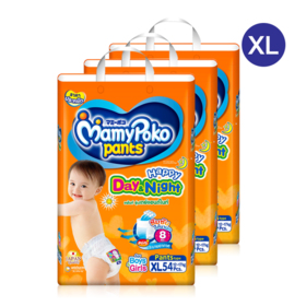 Mamy Poko Happy Pants Day & Night 54pcs x 3packs (162pcs in box)#XL