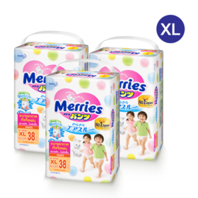 Merries Diapers Pants 38 x 3 Packs (114pcs in box) #XL