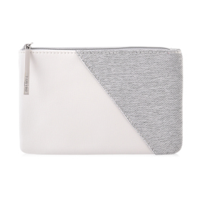 Lancome Leather Strap Small Flat Pouch #White&Grey