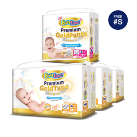BabyLove Premium Gold Tape Perfection Protection 84pcs x 3packs (252pcs in box) #Newborn (Free! Pants 70pcs #S)
