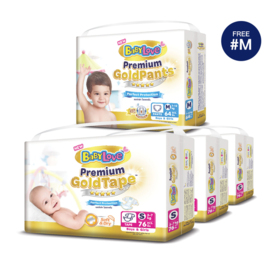 BabyLove Premium Gold Tape Perfection Protection 76pcs x 3packs (228pcs in box) #S (Free! Pants 64pcs #M)