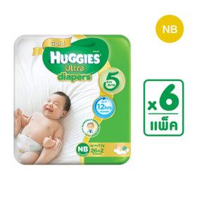 Huggies Ultra Gold Tape 26+2pcs x 6packs (168pcs in box) #Newborn