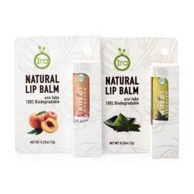 IRA eco tube Natural Lip Balm Set 2 Items (Peach 7g + Green 7g)